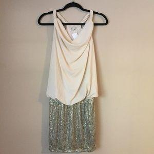 English Rose Formal Cream & Gold Sequin Mini Dress